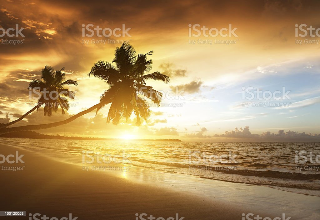 sunset on the beach of caribbean sea stock photo