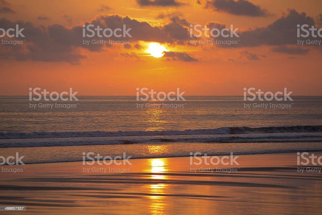 Sunset on the beach of Matapalo in Costa Rica stock photo