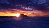 Sunset on the beach of San Sebastian city