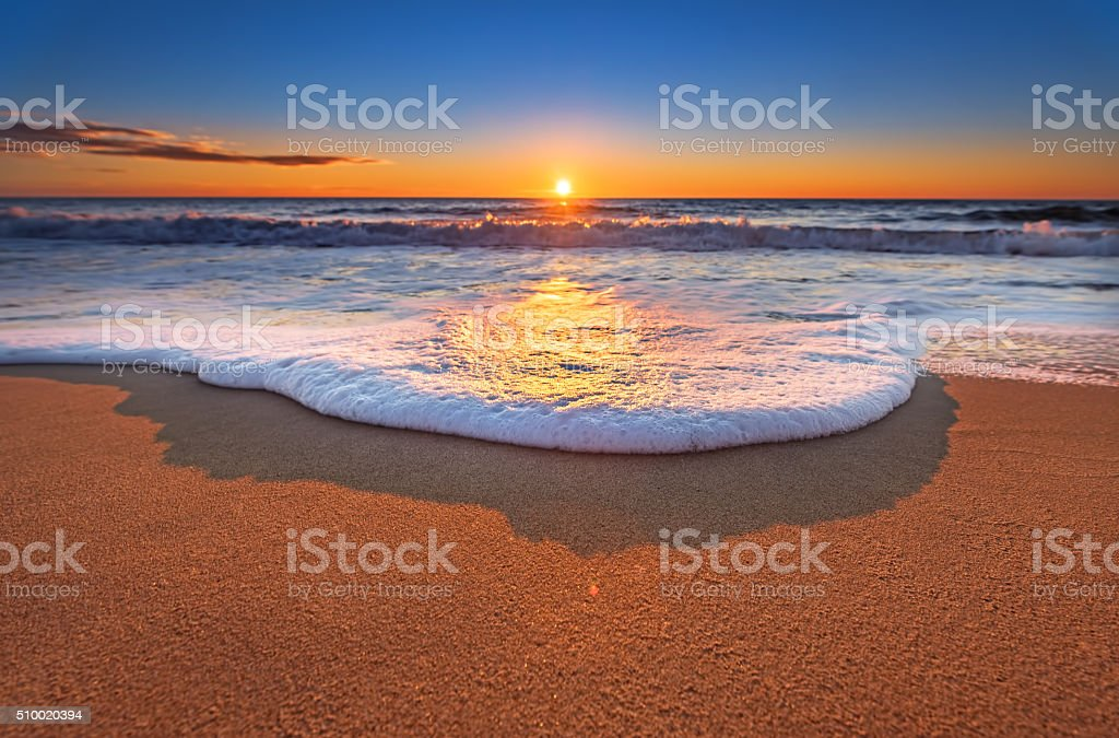 Sunset on the beach. stock photo