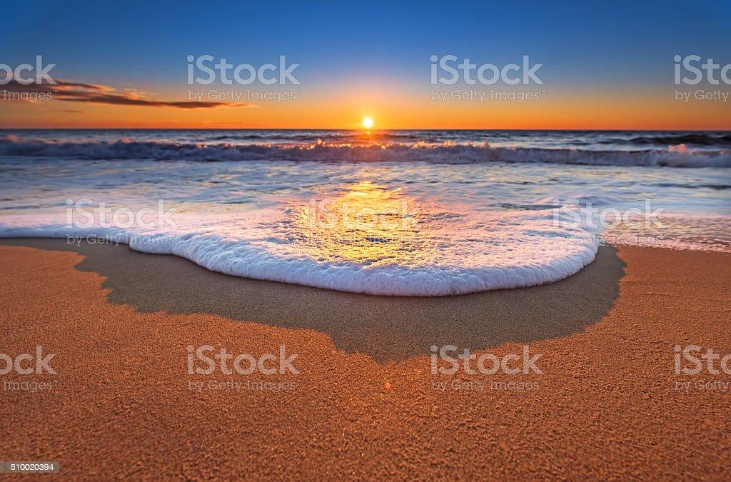 Sunset on the beach. stock photo