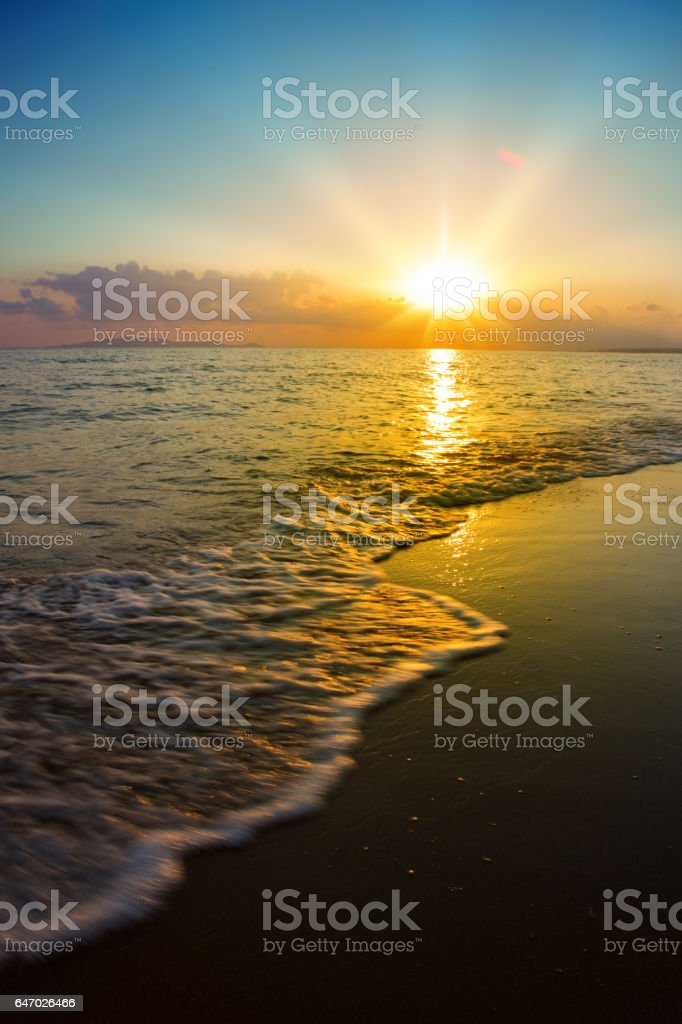 Sunset on the beach stock photo
