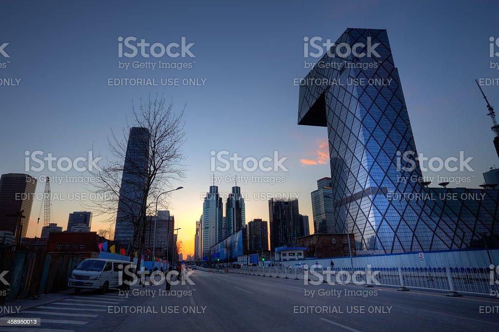 Sunset on the Beijing CCTV Tower stock photo