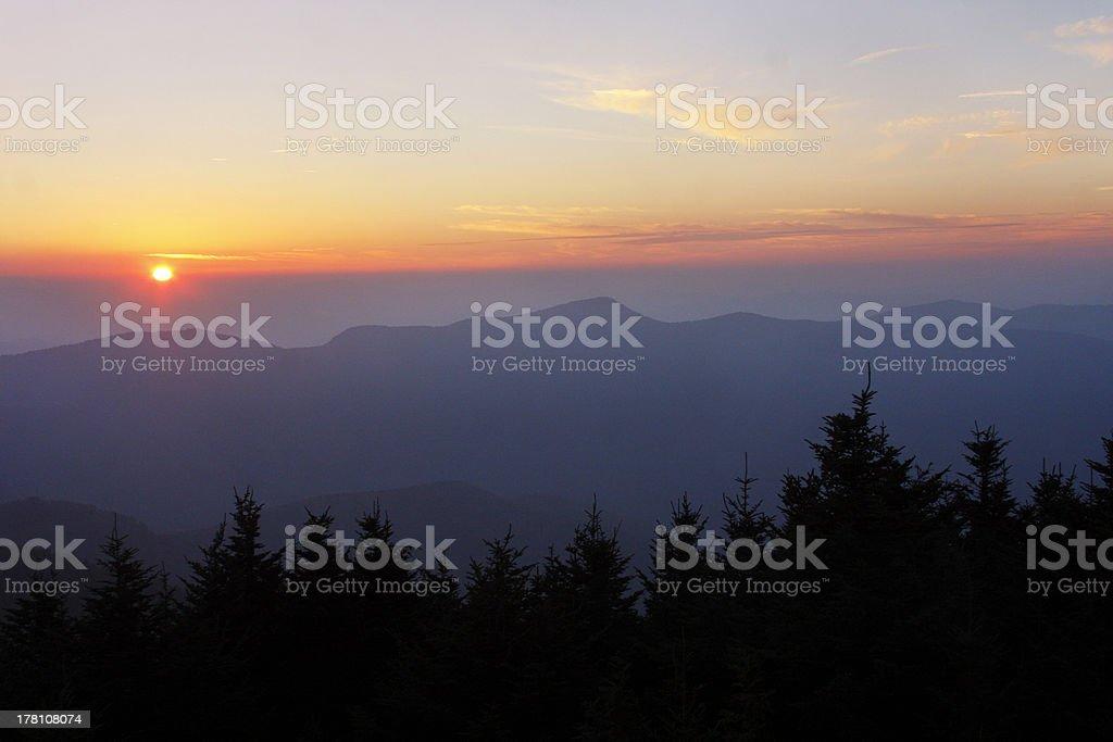 Sunset on the Blue Ridge Parkway royalty-free stock photo