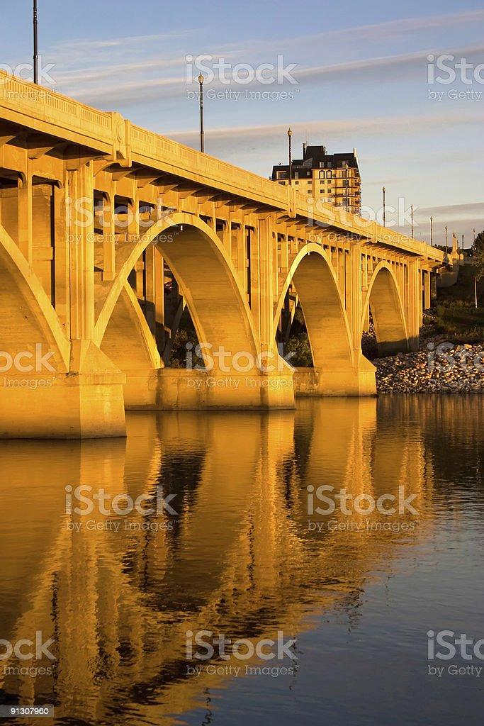 Sunset on the Broadway Bridge royalty-free stock photo