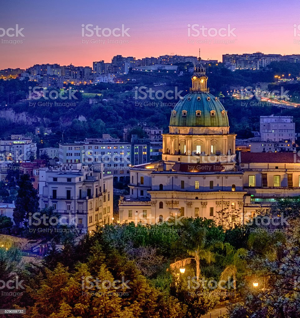 Sunset on The Buon Consiglio church stock photo