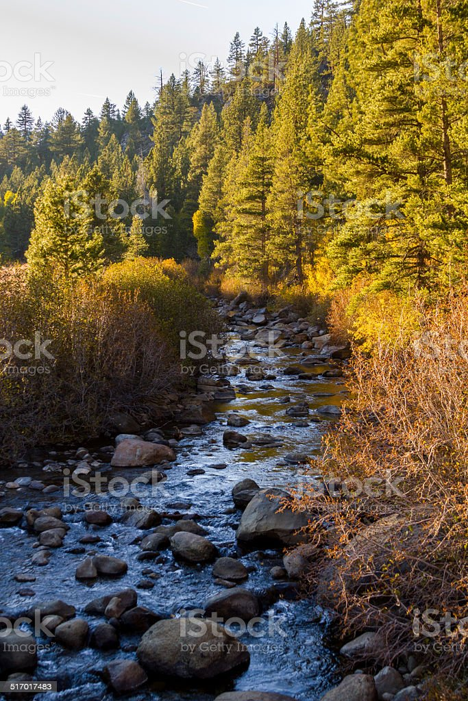 Sunset on the Carson river stock photo
