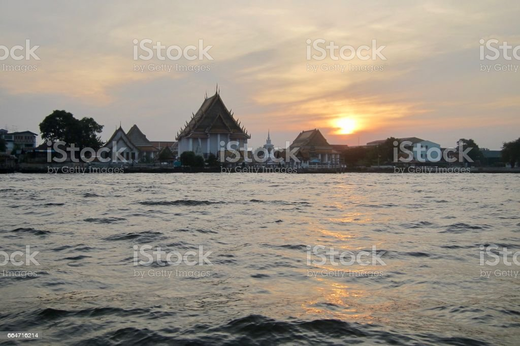 Sunset on the Chao Phraya River stock photo