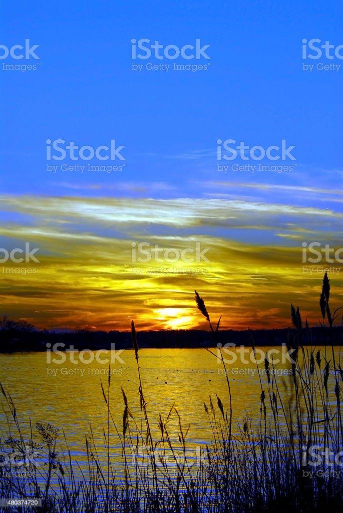 Sunset on the Chesapeake Bay, Maryland stock photo
