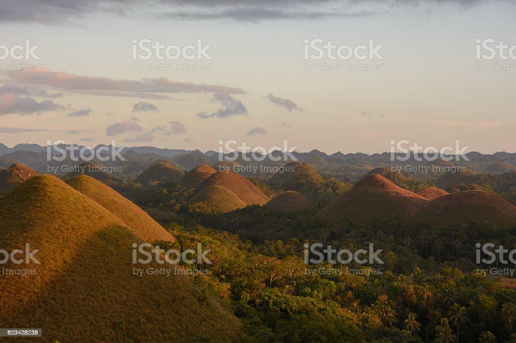 Sunset on the Chocolate Hills, Bohol, Philippines stock photo