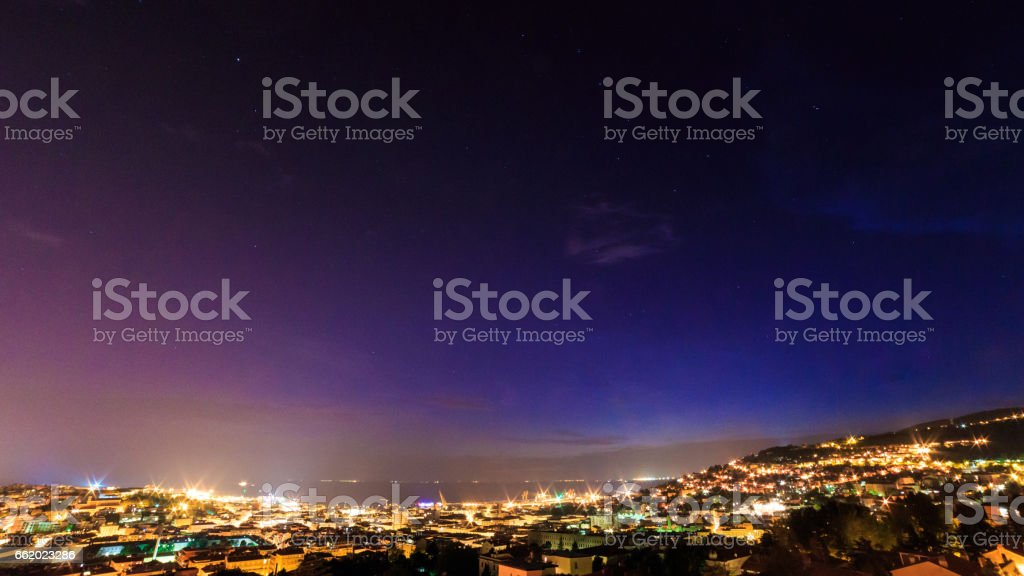 sunset on the city of Trieste stock photo