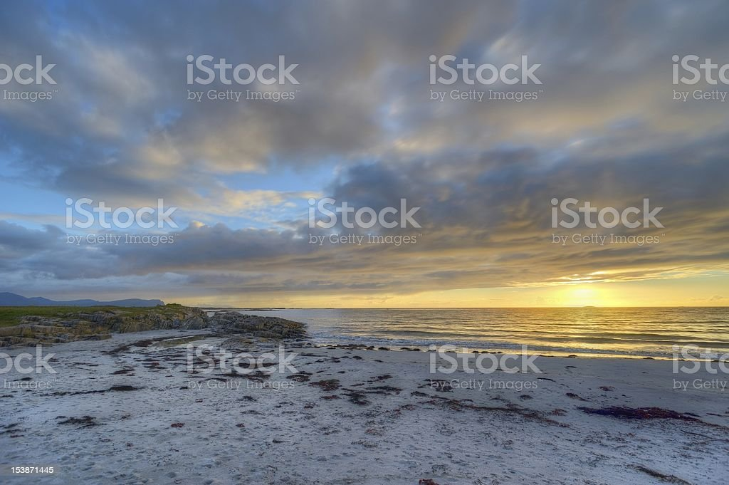 Sunset on the coast of Andoya in Norway royalty-free stock photo