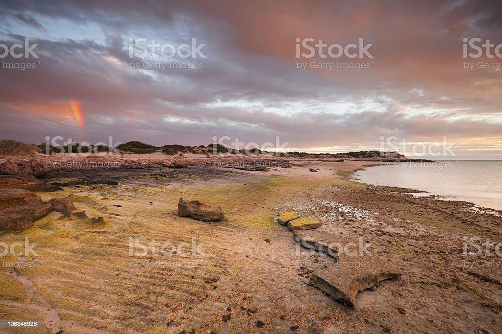 Sunset on the coast of Cape Range NP, Western Australia royalty-free stock photo