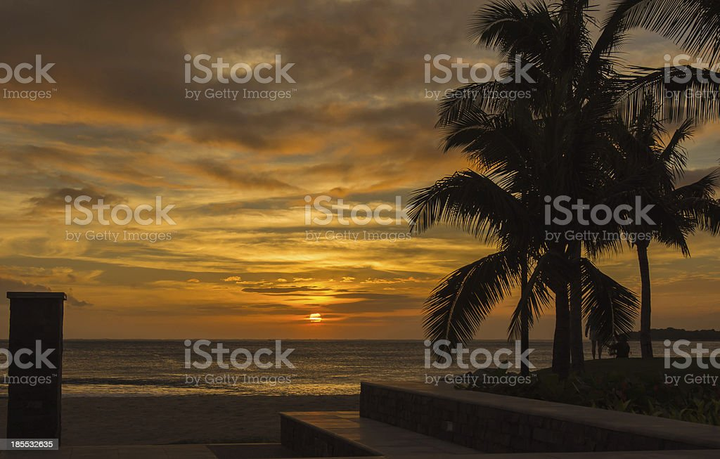 Sunset on the coast of Pacific Ocean royalty-free stock photo