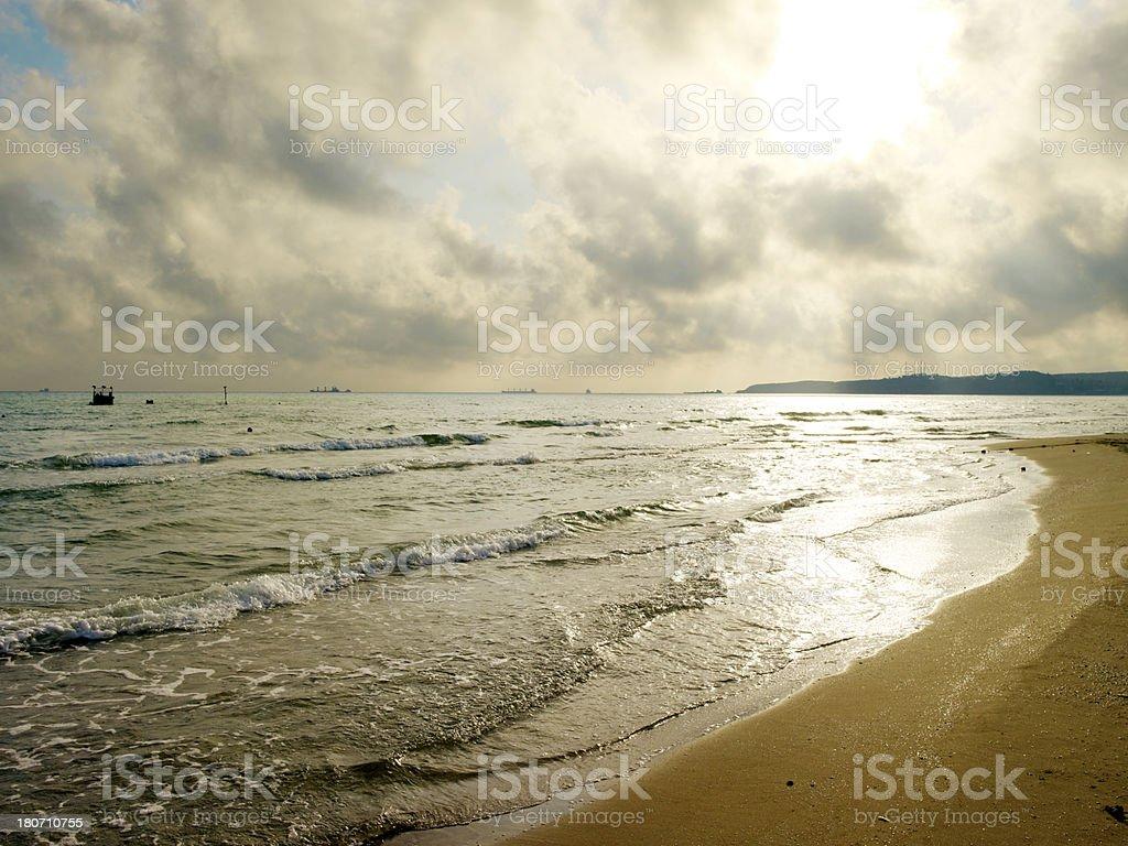 Sunset on the coast stock photo