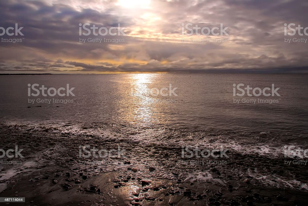 Sunset on the Cook Inlet Alaska stock photo