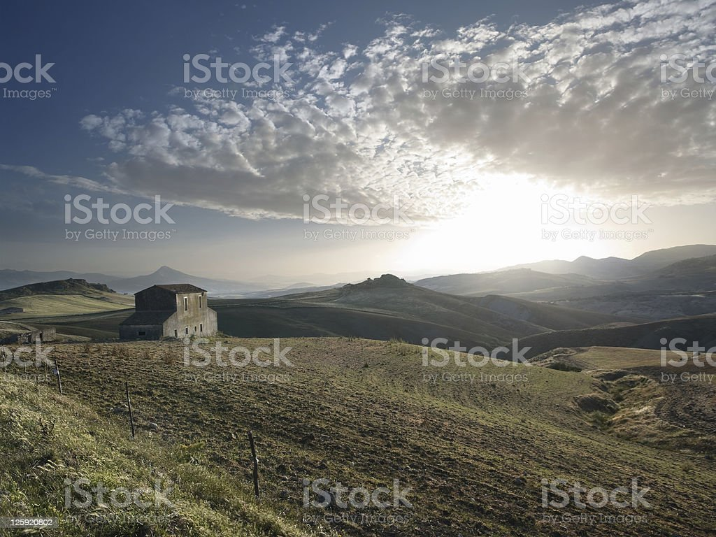 Sunset On The Countryside And Cloudscape royalty-free stock photo
