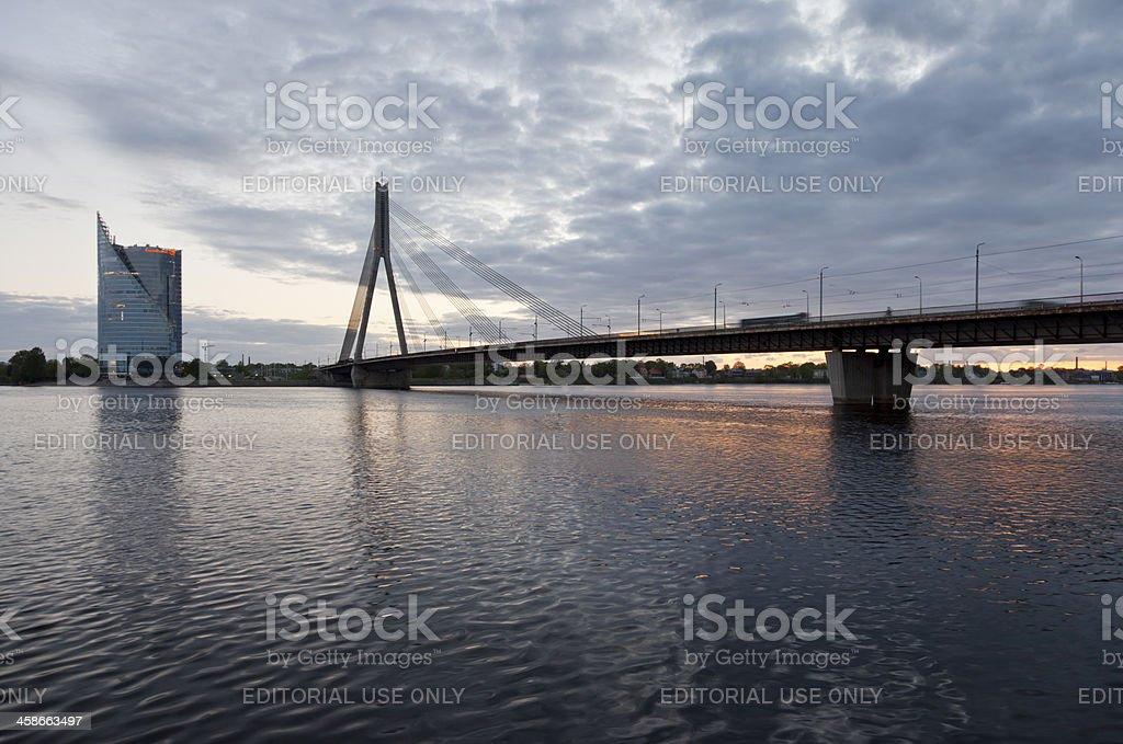 Sunset on the Daugava River royalty-free stock photo