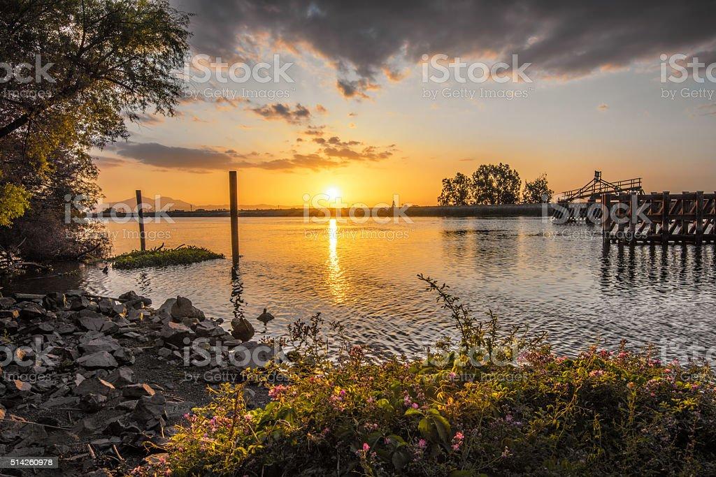 Sunset On The Delta In California - HDRI stock photo