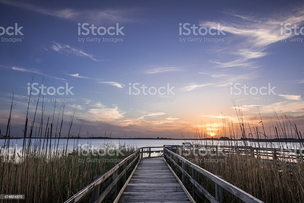 Sunset On The  Dock Of The Back Bay stock photo