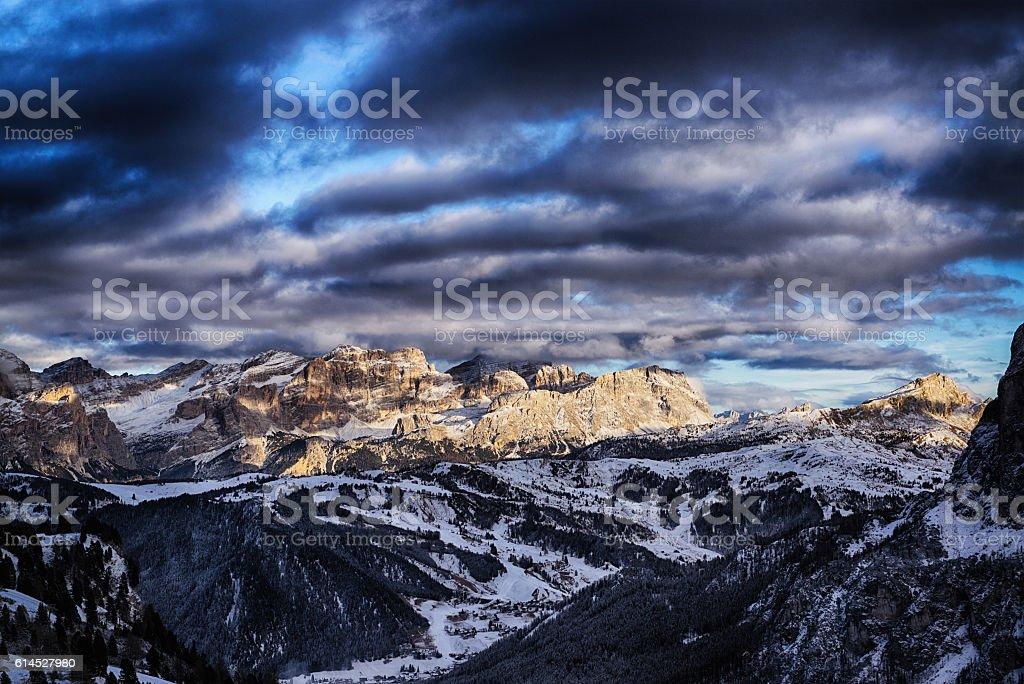 Sunset on the dolomites mountain stock photo