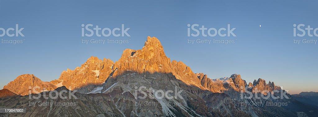 Sunset on the Dolomites stock photo