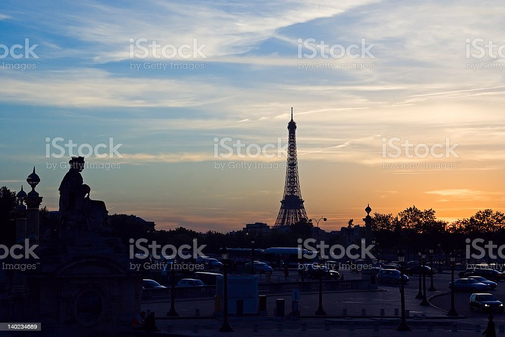 Sunset on the Eiffel tower royalty-free stock photo