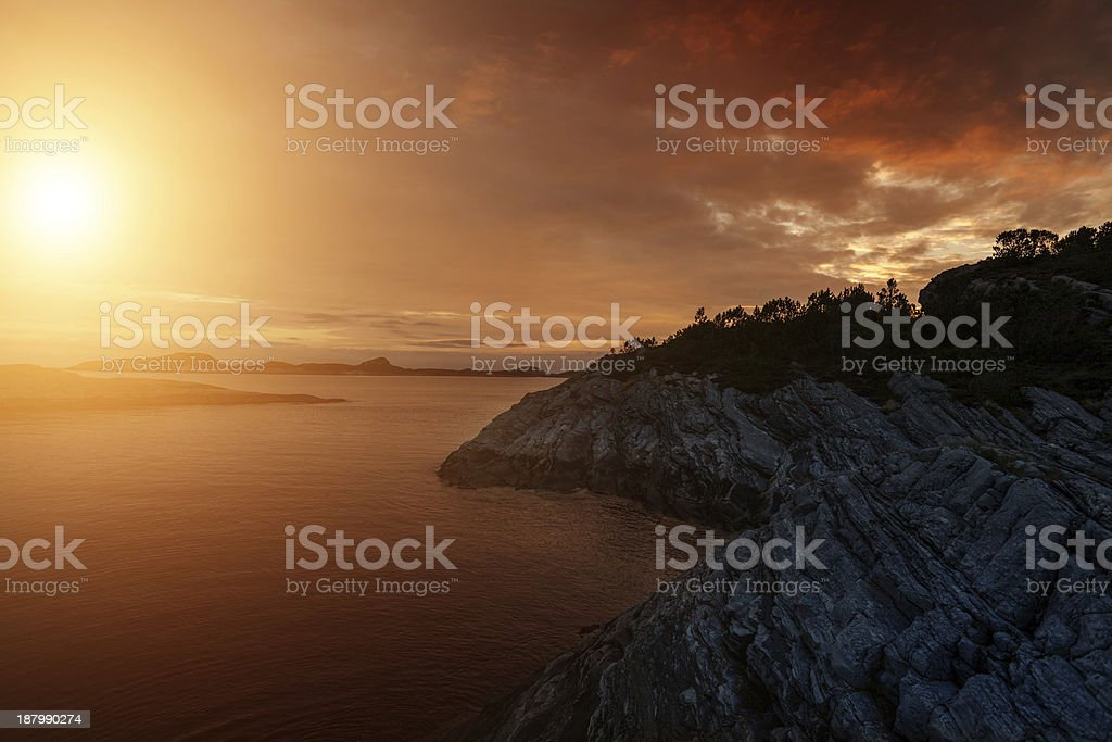 Sunset on the Fiords of Norway stock photo