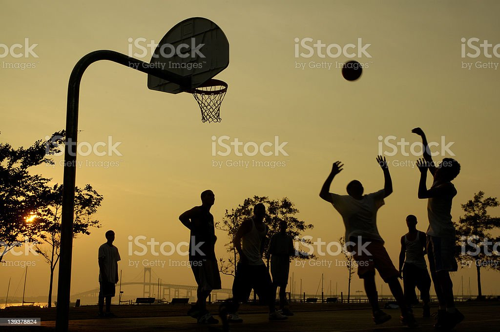 sunset on the game stock photo