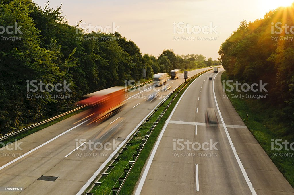 Sunset on the German Autobahn stock photo