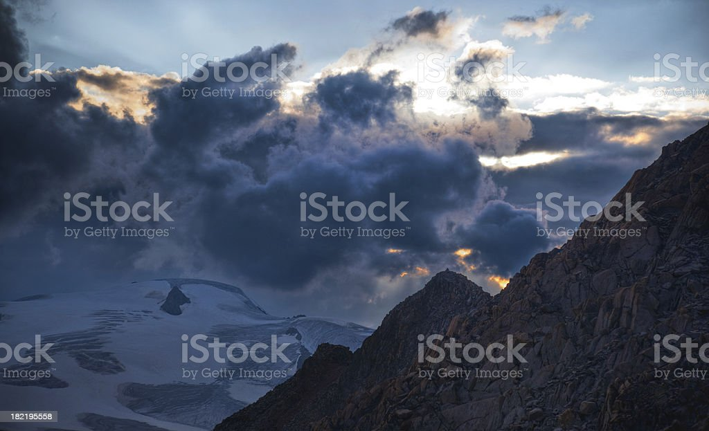 sunset on the glacier royalty-free stock photo