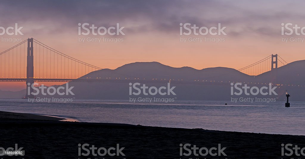 Sunset on the Golden Gate Bridge royalty-free stock photo