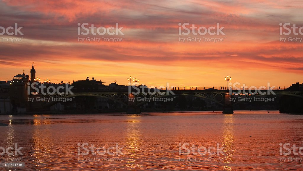 Sunset on the Guadalquivir, Seville. royalty-free stock photo