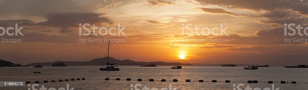 Sunset on the Gulf of Thailand stock photo