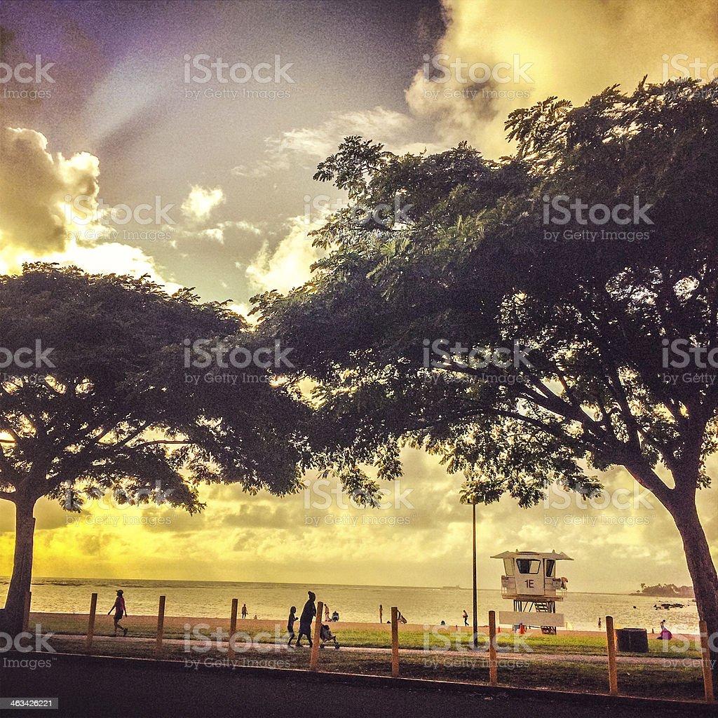 Sunset on the Honolulu Beach, Hawaii, USA royalty-free stock photo
