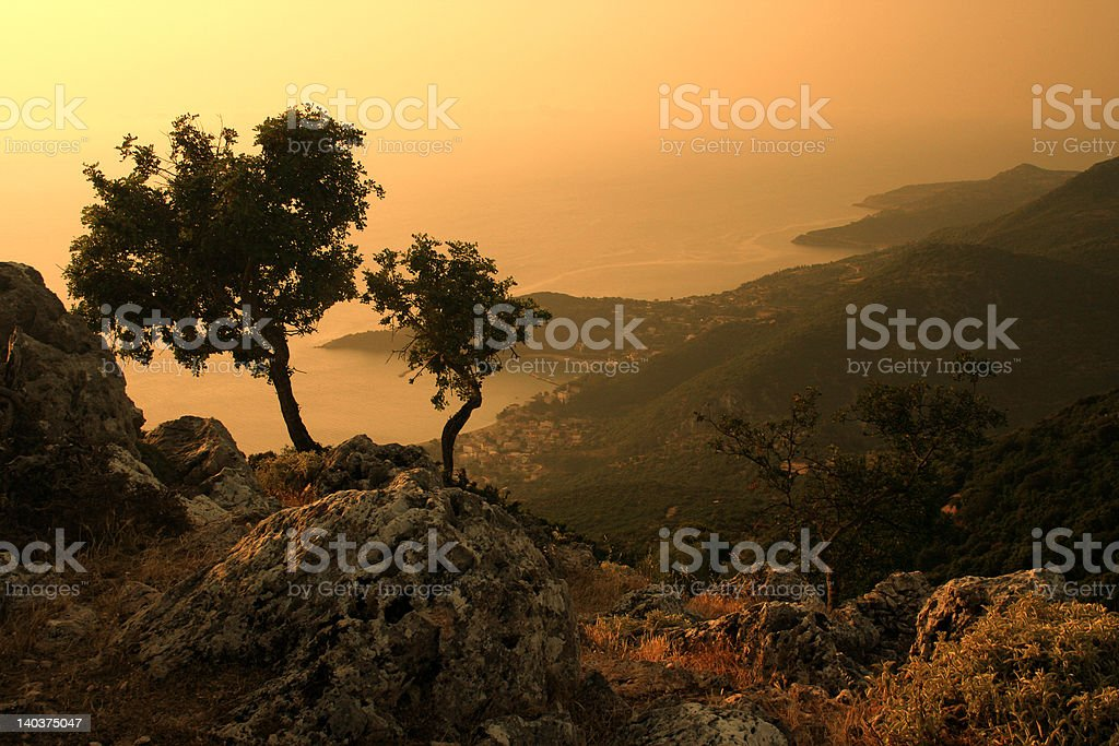 Sunset on the island royalty-free stock photo