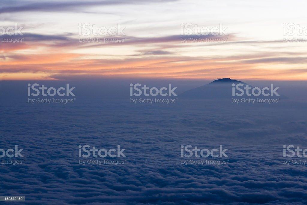 Sunset on the Kilimanjaro, with Mount Meru stock photo