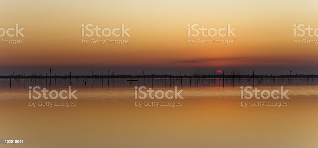 Sunset on the lagoon royalty-free stock photo
