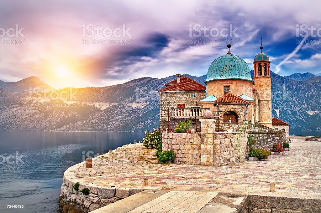 Sunset on the lake in Montenegro stock photo