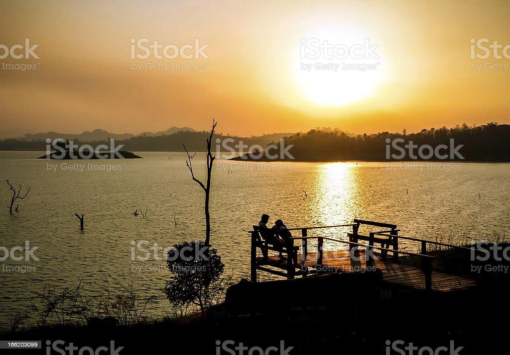 Sunset on the lake royalty-free stock photo