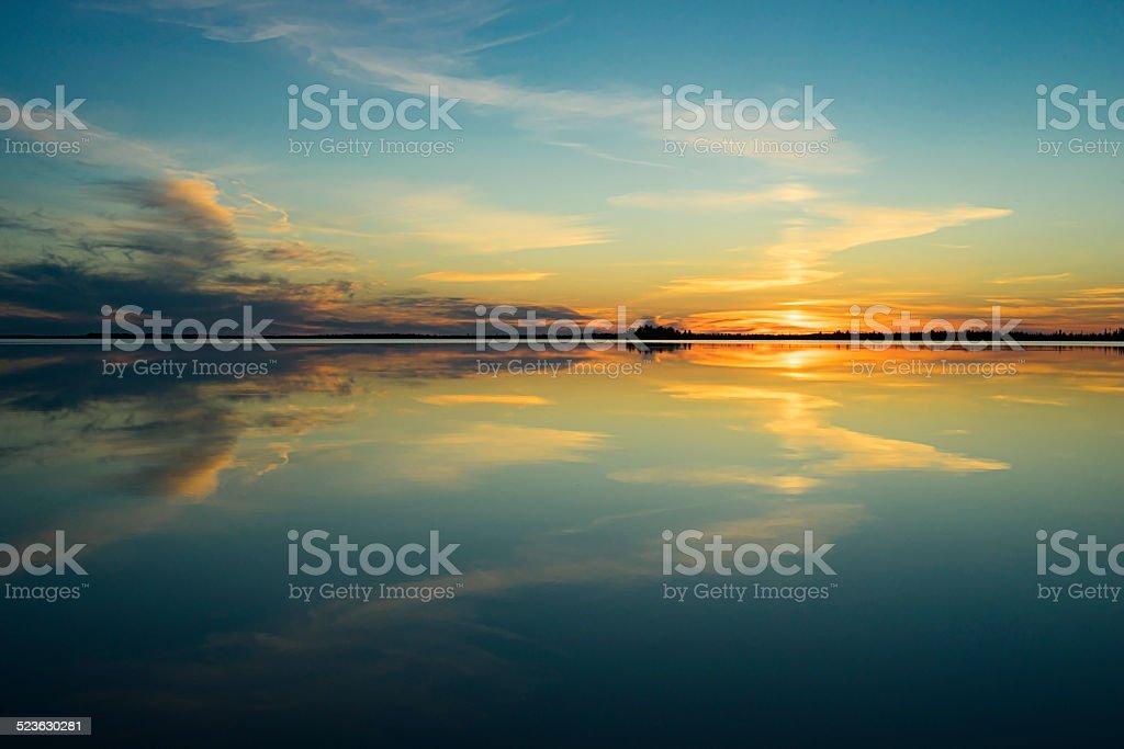 Sunset on the lake . stock photo