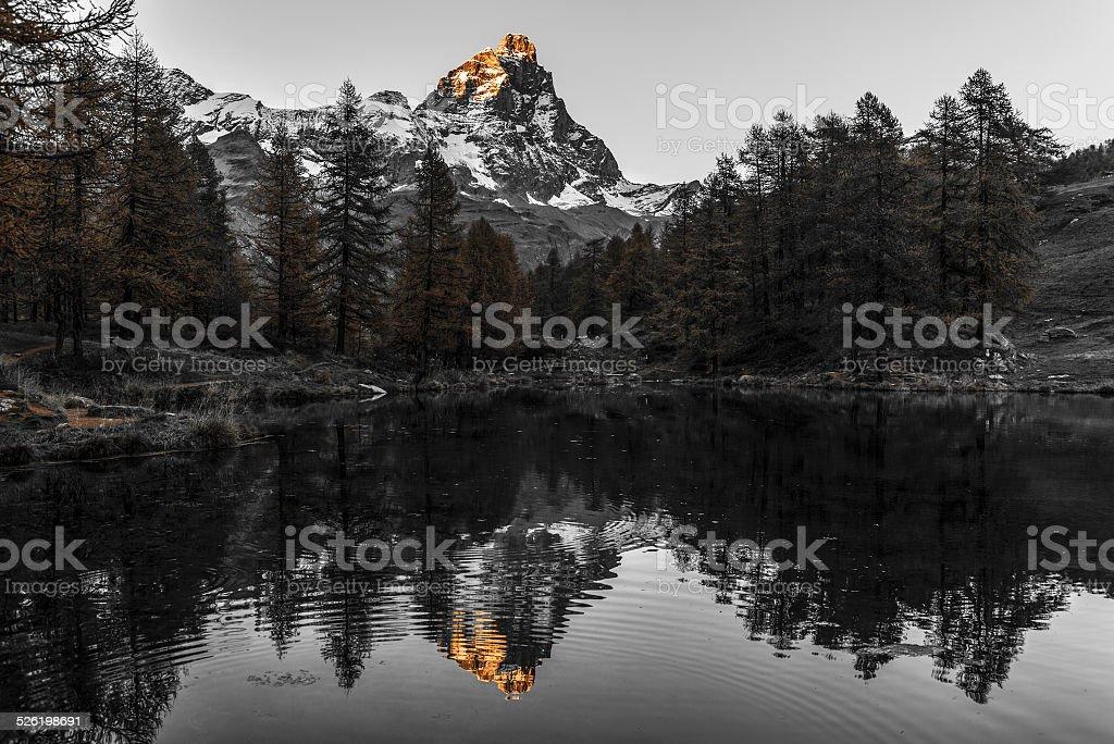 Sunset on the Matterhorn, Aosta Valley stock photo
