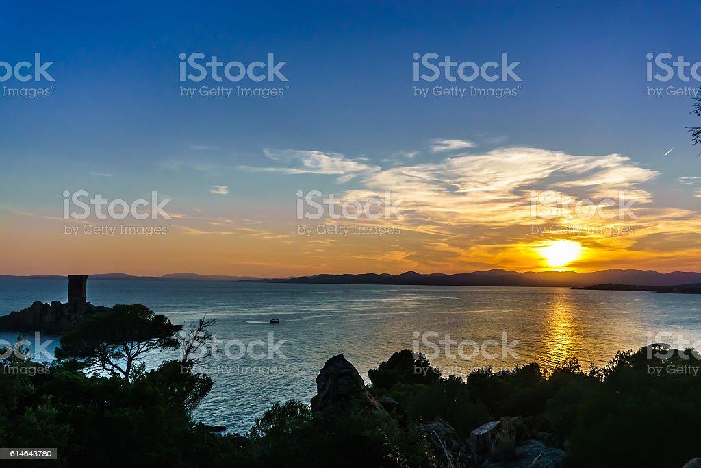 Sunset on the Mediterranean stock photo