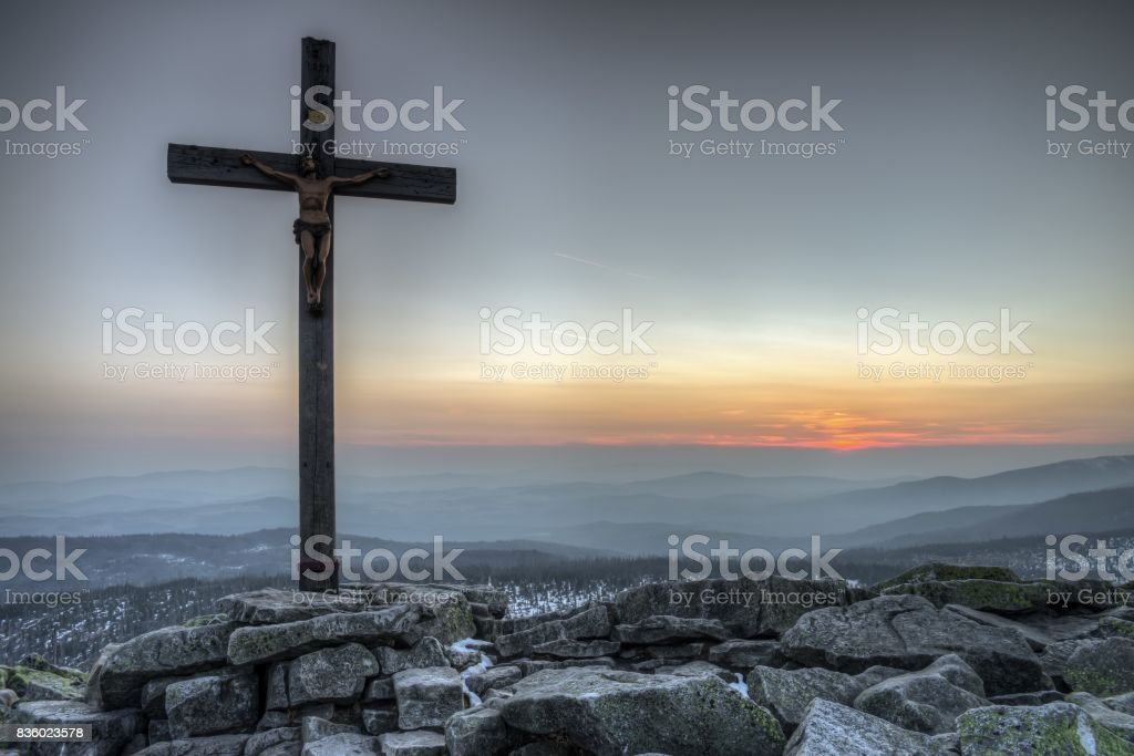 Sunset on the mountain lusen in the bavarian forest, Germany stock photo