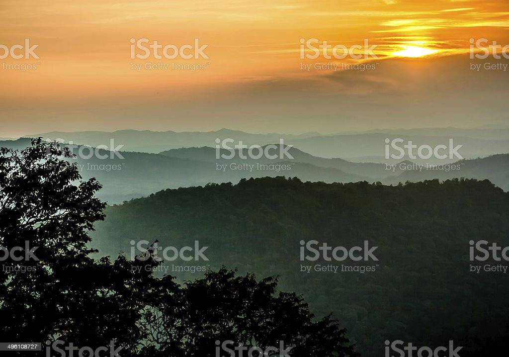 Sunset on the mountain royalty-free stock photo
