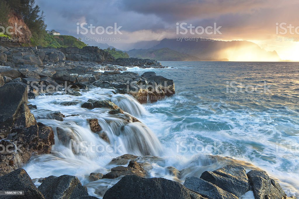 sunset on the north shore of kauai, hawaii royalty-free stock photo
