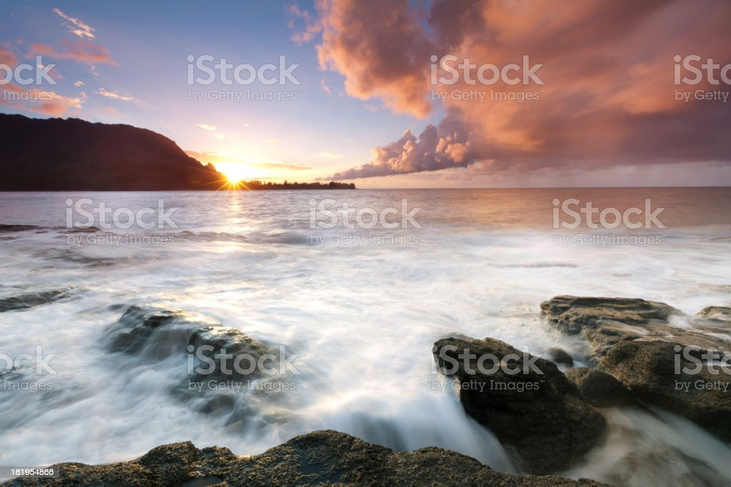 sunset on the north shore of kauai, hawaii royalty-free stock photo
