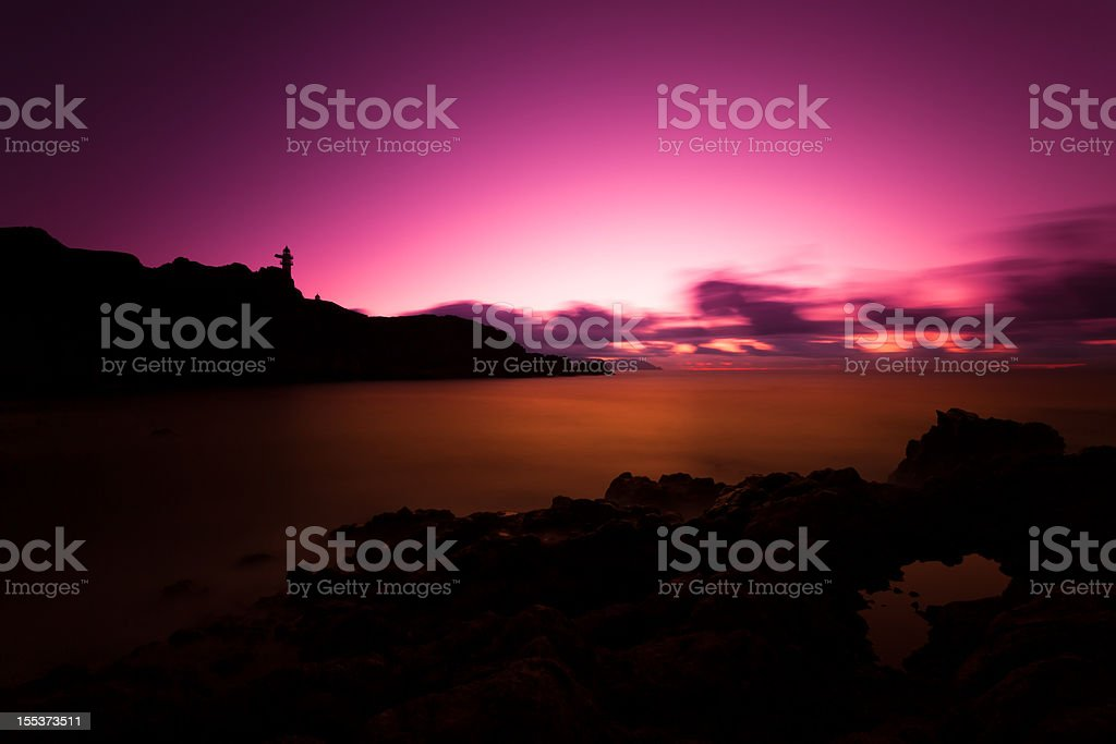 Sunset on the Ocean in Canary Islands royalty-free stock photo