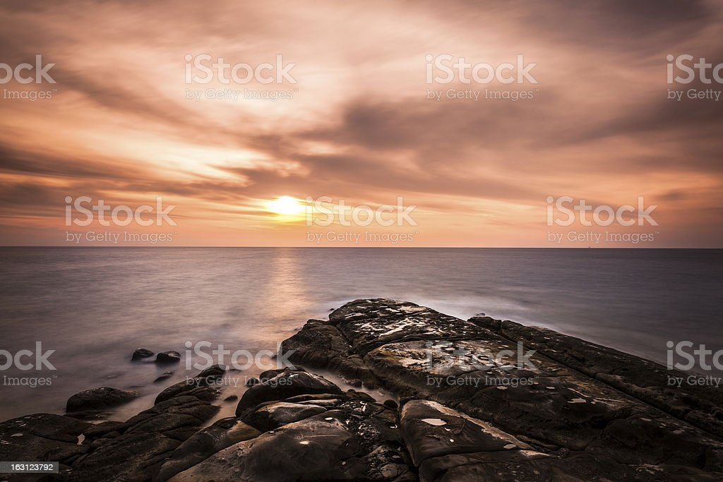Sunset on the Ocean, Tip of Borneo royalty-free stock photo
