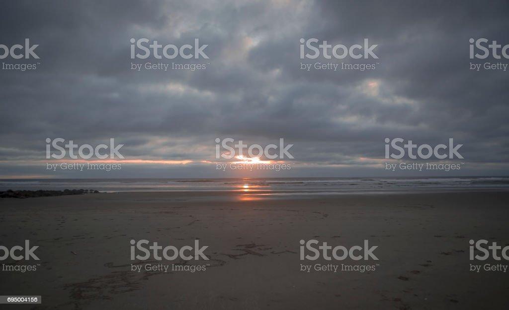 Sunset on the Oregon coast stock photo